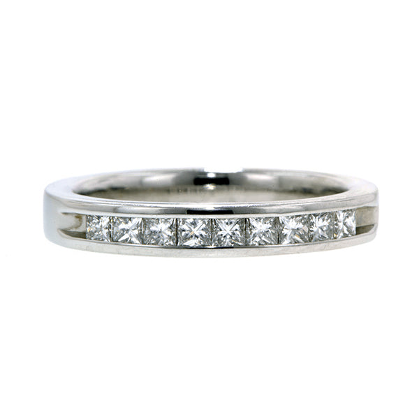 Estate ring: a White Gold Diamond Wedding Band sold by Doyle & Doyle vintage and antique jewelry boutique.
