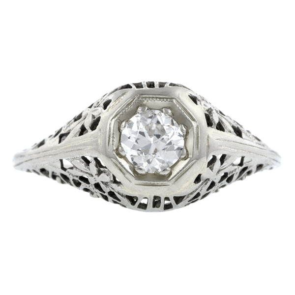 Art Deco Diamond Engagement Ring, Old Euro 0.35ct:: Doyle & Doyle