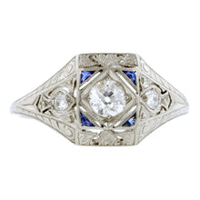 Art Deco Diamond & Sapphire Engagement Ring, Old Mine 0.28ct:: Doyle & Doyle