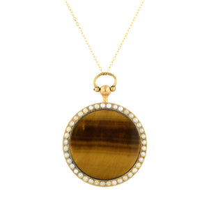 Antique Tigers Eye & Mother of Pearl Locket::