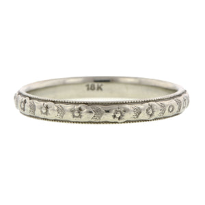 Art Deco Wedding Band Ring with Pattern, sold by Doyle & Doyle an antique and vintage jewelry store.