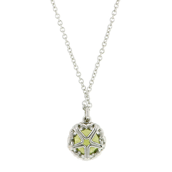 Peridot gemstone pendant 18k white gold - fancy basket style by Heirloom by Doyle & Doyle 093145n