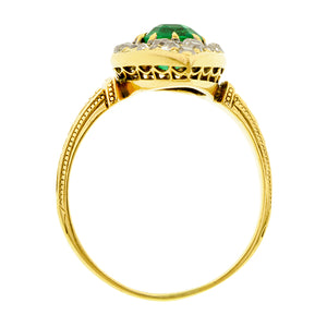 Antique Emerald & Diamond Navette Ring:: Doyle & Doyle