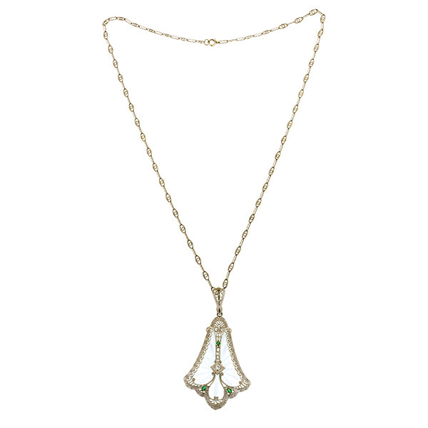 Art Deco Rock Crystal Diamond Pendant::Doyle & Doyle