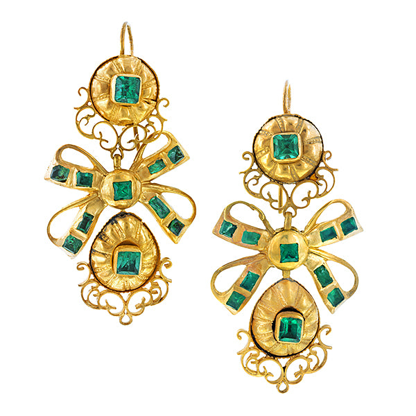 Georgian Emerald Pendeloque Drop Earrings:: Doyle & Doyle