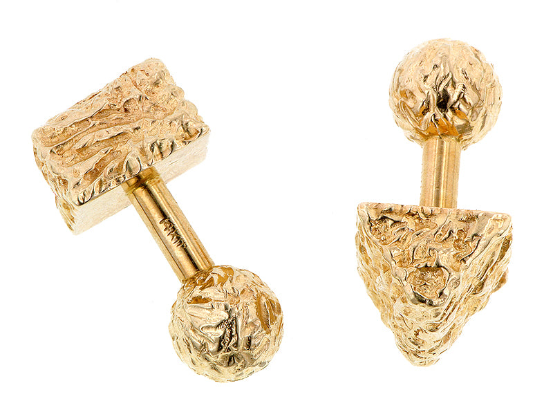 Vintage Textured Ball & Wedge Cufflinks:: Doyle & Doyle