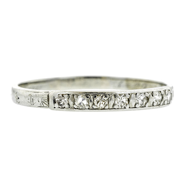Art Deco Diamond Wedding Band, Single Cut 0.21ctw::  Doyle & Doyle