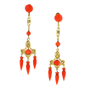 Victorian Coral Filigree Earrings