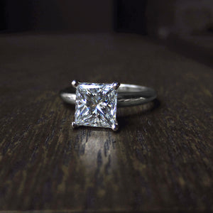 Vintage Diamond Solitaire Engagement Ring, Modified Square Brilliant; 1.72ct: