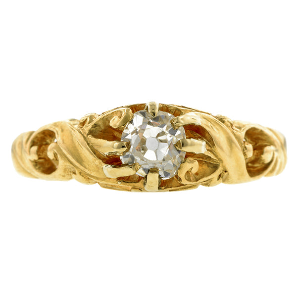Art Nouveau Diamond Ring, Old Mine 0.48ct., sold by Doyle & Doyle an antique and vintage jewelry store.