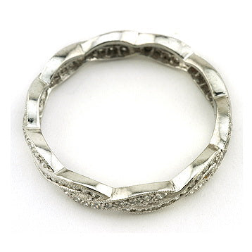 Crossover Twist Diamond Eternity Wedding Band
