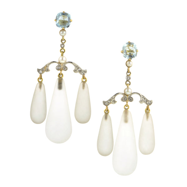 Aqua, Diamond, Pearl & Rock Crystal Girandole Earrings:: Doyle & Doyle