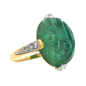 Art Deco Carved Tourmaline Ring::Doyle & Doyle