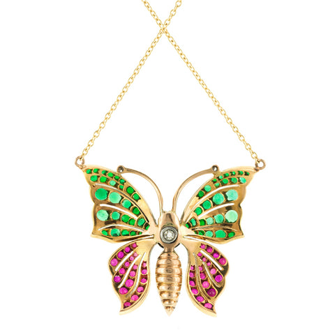 Antique Victorian Ruby, Emerald & Diamond Butterfly Necklace