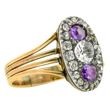 Georgian ring: a Yellow Gold Diamond & Amethyst Cluster Engagement Ring sold by Doyle & Doyle vintage and antique jewelry boutique.