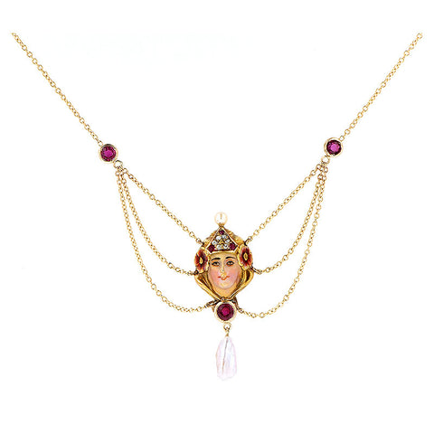 Art Nouveau Enamelled Lady Ruby & Diamond Necklace
