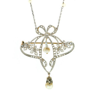 Edwardian Bow & Flower Diamond Pearl Necklace Brooch