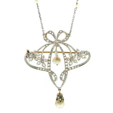 Edwardian bow flower necklace/brooch with diamonds and pearls from Doyle & Doyle