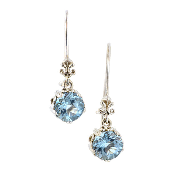 Fancy Basket Aqua Drop Earrings 18kw- Heirloom by Doyle and Doyle