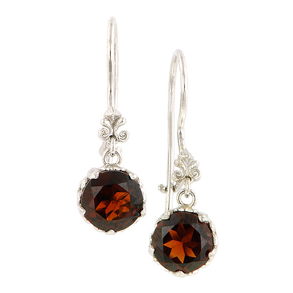 Fancy Basket Garnet Drop Earrings 18kw- Heirloom by Doyle & Doyle