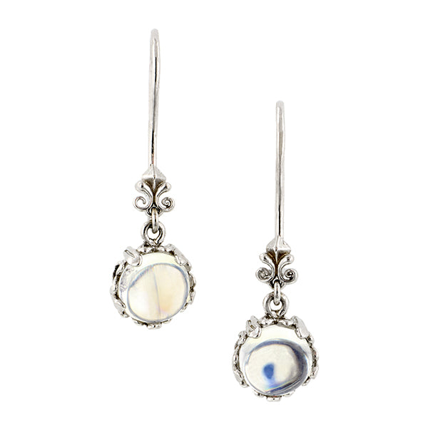 Fancy Basket Moonstone Drop Earrings 18kw- Heirloom by Doyle and Doyle