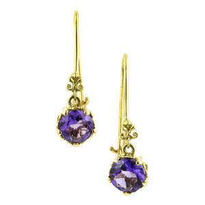 Fancy Basket Amethyst Drop Earrings 18k- Heirloom by Doyle and Doyle