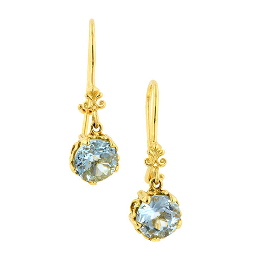 Fancy Basket Aquamarine Drop Earrings 18k- Heirloom by Doyle and Doyle