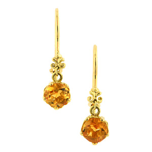 Fancy Basket Citrine Drop Earrings 18k- Heirloom by Doyle and Doyle