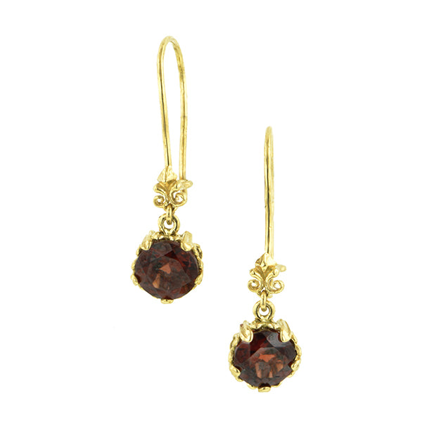 Fancy Basket Garnet Drop Earrings 18k- Heirloom by Doyle & Doyle