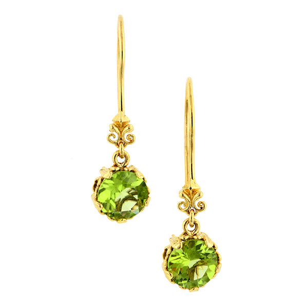 Fancy Basket Peridot Drop Earrings 18k- Heirloom by Doyle and Doyle