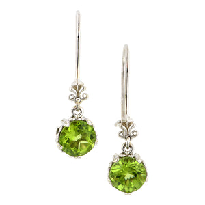 Fancy Basket Peridot Drop Earrings 18kw- Heirloom by Doyle and Doyle