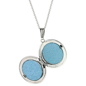 Classic round white gold locket in 14k white gold from Doyle & Doyle.
