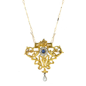 Antique Sapphire & Diamond Pin Pendant