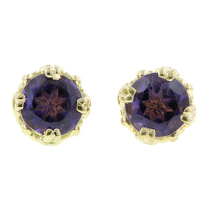 Amethyst stud earrings 18k yellow gold - fancy basket style by Heirloom by Doyle & Doyle 092964E