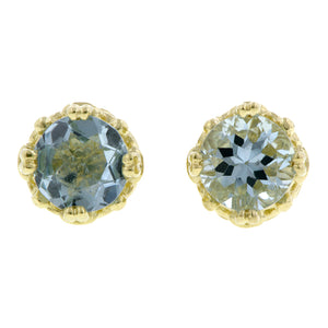 Aquamarine stud earrings 18k yellow gold - fancy basket style by Heirloom by Doyle & Doyle