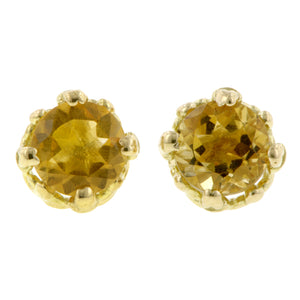 Citrine stud earrings 18k yellow gold - fancy basket style by Heirloom by Doyle & Doyle 092964E