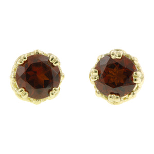 Garnet stud earrings 18k yellow gold - fancy basket style by Heirloom by Doyle & Doyle 092964E