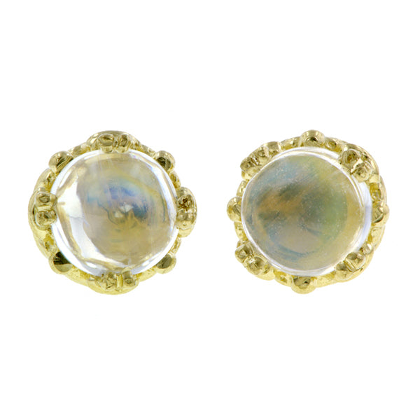 Moonstone stud earrings 18k yellow gold - fancy basket style by Heirloom by Doyle & Doyle 092964E
