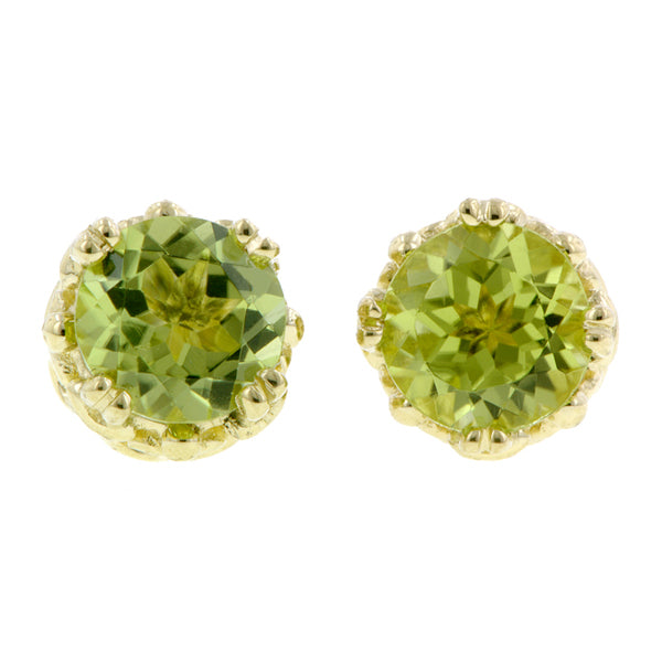 Peridot stud earrings 18k yellow gold - fancy basket style by Heirloom by Doyle & Doyle 092964E