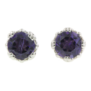 Amethyst stud earrings 18k white gold - fancy basket style by Heirloom by Doyle & Doyle 092964E