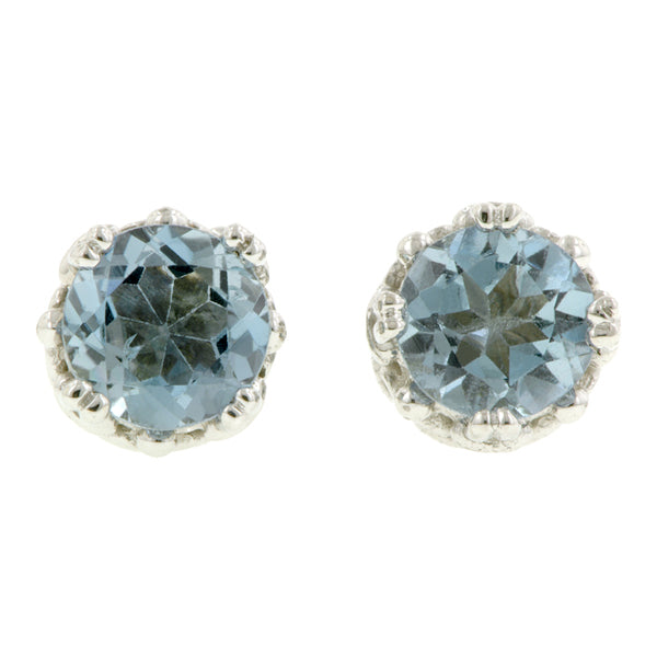 Aquamarine stud earrings 18k white gold - fancy basket style by Heirloom by Doyle & Doyle