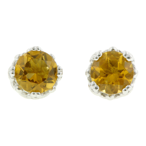 Citrine stud earrings 18k white gold - fancy basket style by Heirloom by Doyle & Doyle 092964E