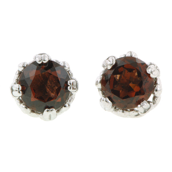 Garnet stud earrings 18k white gold - fancy basket style by Heirloom by Doyle & Doyle 092964E
