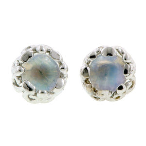 Moonstone stud earrings 18k white gold - fancy basket style by Heirloom by Doyle & Doyle 092964E