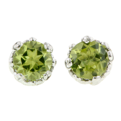 Peridot stud earrings 18k white gold - fancy basket style by Heirloom by Doyle & Doyle 092964E