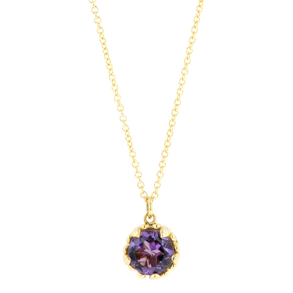 Amethyst gemstone pendant 18k yellow gold - fancy basket style by Heirloom by Doyle & Doyle 093145n