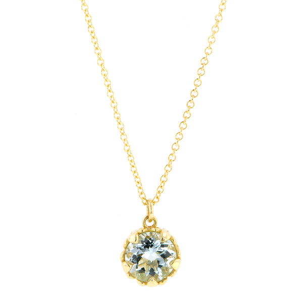 Aquamarine gemstone pendant 18k yellow gold - fancy basket style by Heirloom by Doyle & Doyle 093145n