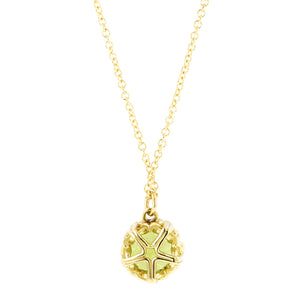 Peridot gemstone pendant 18k yellow gold - fancy basket style by Heirloom by Doyle & Doyle 093145n