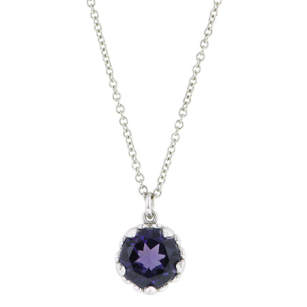 Amethyst gemstone pendant 18k white gold - fancy basket style by Heirloom by Doyle & Doyle 093145n