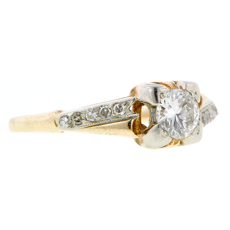 Art Deco TRB .35ct Gold Ring